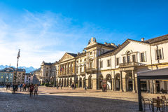 Piazza Chanoux in Aosta, Italy Stock Images