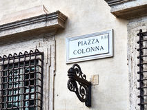 Piazza Colonna Marble Sign Rome Italy Royalty Free Stock Photo