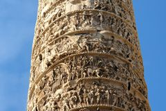 Piazza Colonna Rome Obelisk Detail Stock Photo