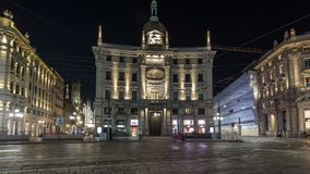 Piazza Cordusio is an important commercial square in the city night timelapse hyperlapse