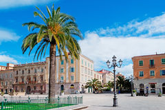 Piazza d'Italia and palm Royalty Free Stock Photos