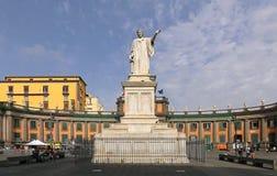 Piazza Dante Napoli. NAPLES, ITALY - JUNE 25: Piazza Dante in Naples on JUNE 25, 2014. Dante Alighieri monument and Convitto Nazionale Vittorio Emanuele in royalty free stock photography