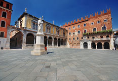 Piazza Dante in Verona. Piazza dei Signori, also known as Piazza Dante in Verona. There are various palaces around the square and a statue of Dante Alighieri Stock Photo