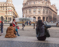 Piazza de Ferrari en Génova Foto de archivo libre de regalías