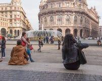 Piazza de Ferrari in Genoa Royalty Free Stock Photo