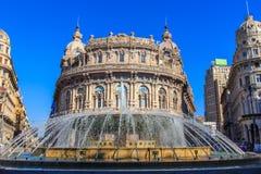 Piazza De Ferrari - the main square of Genoa, Italy. Piazza De Ferrari (Piazza De Ferrari), fountain and palace Exchange in Genoa Stock Photography
