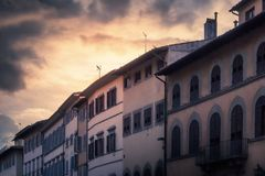 Piazza de& x27; Pitti. Sunset behind the houses of the Piazza de& x27; Pitti in Florence Royalty Free Stock Image