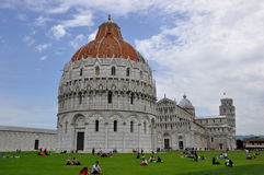Piazza dei Miracoli and Leaning tower of Pisa royalty free stock image