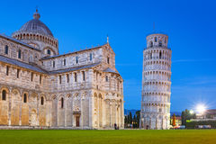 Piazza dei Miracoli with Leaning Tower of Pisa Stock Images