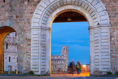 Piazza dei Miracoli with Leaning Tower of Pisa Royalty Free Stock Image