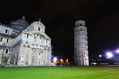 Piazza dei Miracoli with the Leaning Tower of Pisa, Italy. Italian landmark Royalty Free Stock Images