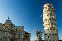 Piazza dei Miracoli with leaning tower, Pisa, Tuscany, Italy Stock Images