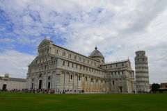 Piazza dei Miracoli - Pisa cathedral and leaning tower Royalty Free Stock Image