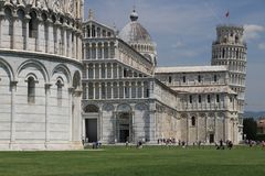 Piazza dei miracoli of Pisa. Cathedral, leaning tower of the Tus stock image
