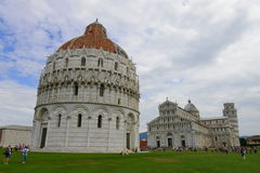 Piazza dei Miracoli - Pisa dome, cathedral and leaning tower Stock Images