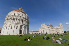 Piazza dei Miracoli, Pisa Italië Stock Afbeelding