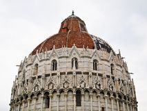 Piazza dei miracoli , Pisa Italy. Piazza dei miracoli, with the Basilica at the leaning tower Pisa , Italy Stock Photo