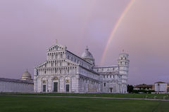 Piazza dei Miracoli in Pisa. Piazza dei Miracoli with a rainbow over the leaning tower o Pisa Royalty Free Stock Photos