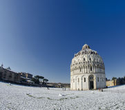Piazza dei Miracoli in Pisa after a Snowstorm Royalty Free Stock Photo