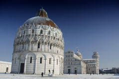 Piazza dei Miracoli in Pisa after a Snowstorm Stock Image