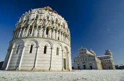 Piazza dei Miracoli in Pisa after a Snowstorm Royalty Free Stock Photography