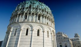 Piazza dei Miracoli in Pisa after a Snowstorm. Italy Royalty Free Stock Photography