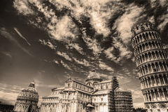 Piazza dei Miracoli in sepia toon Stock Afbeelding