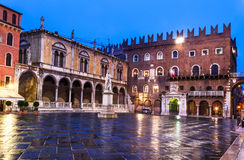 Piazza dei Signori, Verona. Piazza dei Signori is the civic and political heart of Verona, with the statue of Dante in the middle of square. Northern Italy Royalty Free Stock Photo