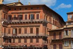 Piazza del园地细节  锡耶纳的历史的中心由联合国科教文组织宣称世界遗产名录站点 库存图片