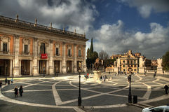 Piazza del Campidoglio. Michelangelo's Piazza del Campidoglio in Rome's Capitol Hill. Pseudo HDR created from a single RAW image Stock Photography