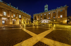 Piazza del Campidoglio on Capitoline Hill with Palazzo Senatorio Royalty Free Stock Photo