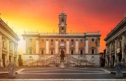 Free Piazza Del Campidoglio, On The Top Of Capitoline Hill, With Palazzo Senatorio And The Equestrian Statue Of Marcus Aurelius. Stock Photography - 96252482