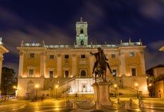 Piazza del Campidoglio, op de bovenkant van Capitoline-Heuvel in Rome, Italië Royalty-vrije Stock Foto's