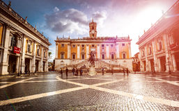 Piazza del Campidoglio. Rome, Italy - November 17, 2014: Piazza del Campidoglio, famous square in central Rome designed by Michelangelo Royalty Free Stock Image