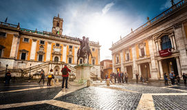 Piazza del Campidoglio. Rome, Italy - November 17, 2014: Piazza del Campidoglio, famous square in central Rome designed by Michelangelo Royalty Free Stock Photography