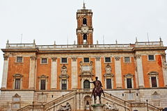 Piazza del Campidoglio Rome Italy. Piazza del Campidoglio, on the top of Capitoline Hill, with the façade of Palazzo Senatorio and the equestrian Statue of Royalty Free Stock Image