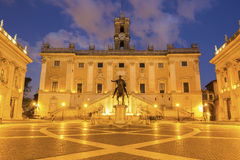 Piazza del Campidoglio in Rome, Italy. Piazza del Campidoglio on the top of Capitoline Hill with the facade of Palazzo Senatorio and the replica of Equestrian Stock Photos