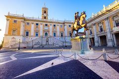 Piazza del Campidoglio on the top of Capitoline Hill, Rome. Piazza del Campidoglio on the top of Capitoline Hill with the facade of Palazzo Senatorio, Rome Stock Photography