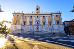 Piazza del Campidoglio on the top of Capitoline Hill, Rome. Piazza del Campidoglio on the top of Capitoline Hill with the facade of Palazzo Senatorio, Rome Royalty Free Stock Image