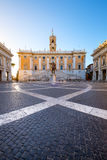 Piazza del Campidoglio on the top of Capitoline Hill, Rome. Piazza del Campidoglio on the top of Capitoline Hill with the facade of Palazzo Senatorio, Rome Stock Photos