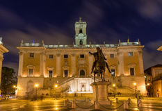Piazza del Campidoglio, on the top of Capitoline Hill in Rome, Italy. Piazza del Campidoglio, on the top of Capitoline Hill, with the facade of Palazzo Senatorio Royalty Free Stock Photos