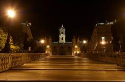 Piazza del Campidoglio y conservador del dei de Palazzo fotografía de archivo libre de regalías
