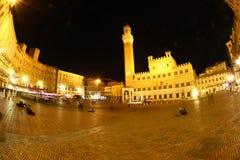 Piazza del Campo di notte, Siena Fotografia Stock