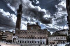 Piazza del Campo i HDR - Siena Arkivbild