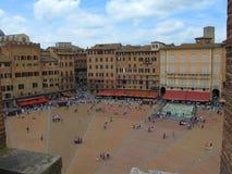Piazza del campo i Siena, Tuscany, Italien arkivfoto