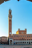 Piazza del Campo with the Mangia Tower Stock Image