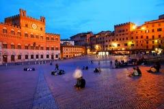 Piazza del Campo met Palazzo Pubblico, Siena Royalty-vrije Stock Foto