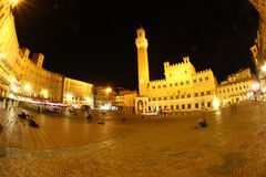 Piazza del Campo by night, Siena Stock Photo