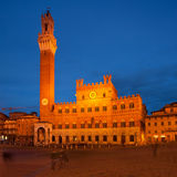Piazza del Campo with Palazzo Pubblico Stock Photos