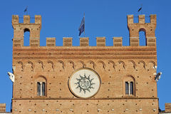 Piazza del Campo with Palazzo Pubblico, Siena, Ita Stock Photography